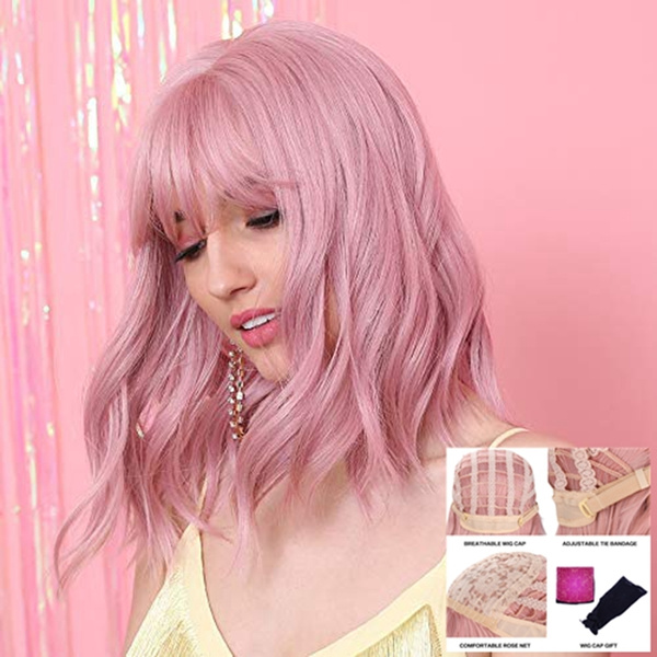 Short Curly Lace Front Synthetic Wigs with Bangs Pink Bob Hair Wigs for Women Girls Hand Tied Heat Resistant 14 inches Wigs cap included