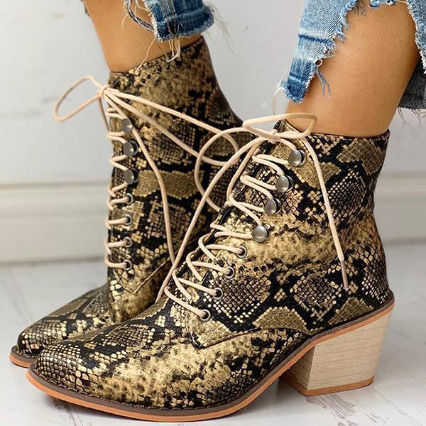 Bonnieshoes Pointed Toe Lace-up Snakeskin Chunky Heeled Boots