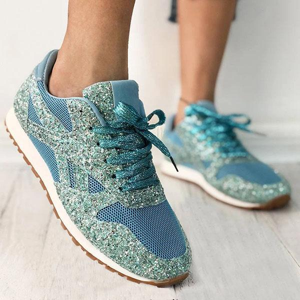 Twinklemoda Women'S Solid Sequined Lace-Up Sneakers