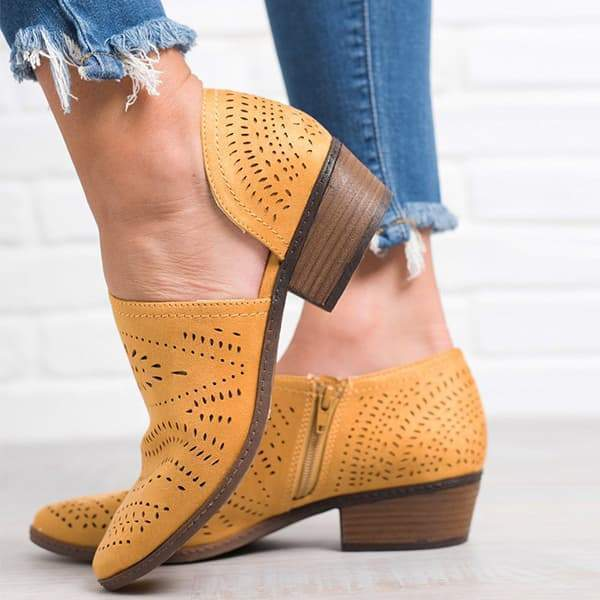 Zoeyootd Hollow Low Heel Cutout Booties