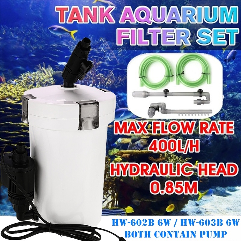 400L/H 20 Gallons Aquarium External Canister Filter Super Quiet High Efficiency Portable Fish Tank Bucket Outer Filtration System With Pump & Pipe
