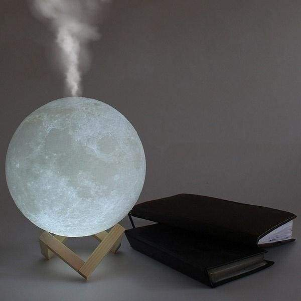 Moon Lamp Humidifier - Aromatherapy Diffuser, LED Desk Moon Lamp with Cool Mist Humidifier Function, Adjustable Brightness and Mist Mode