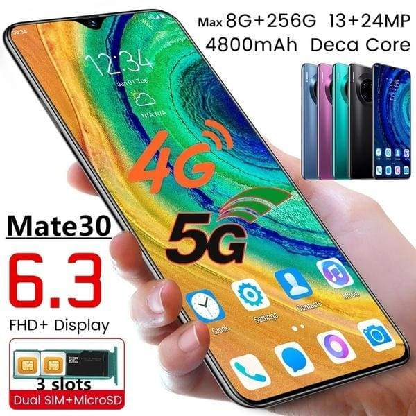 2019 New Launch 4G Android Smartphone Upgrade Version Mate30 - Curved Back 2K Ultra HD Water Drop Full Screen Face Recognition Dual Card Unlocked (Customzie Max 8GB RAM+256GB ROM)