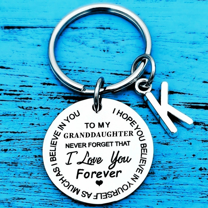 To My Granddaughter Grandson Inspirational Gift Keychain From Grandma Grandpa I Love You Forever Birthday Graduation Back To School Gifts for Boys Girls Family Pendant Charm Gifts