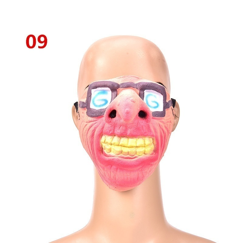 New Half Face Fun Horrible Scary Masks Halloween Party Fool's Day Clown latex Mask Cosplay Costume