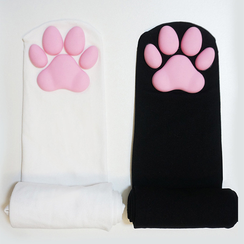 3D SILICONE RUBBER CAT PAW THIGH HIGH SOCKS
