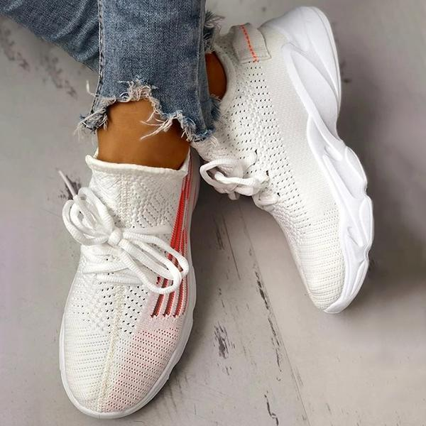 Zoeyootd Fashion Knitted Lace-Up Yeezy Stretch Sneakers
