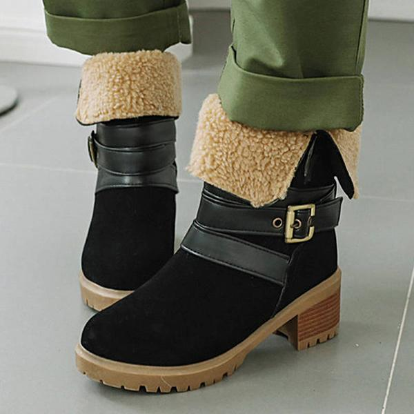 Bonnieshoes Women Buckle Strap Slip On Chunky Heel Boots