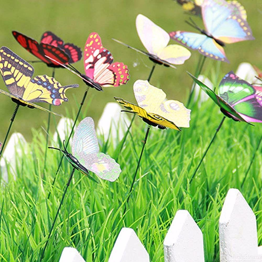 24PCS DIY Simulation Artificial Butterfly Stakes Yard Plant Lawn Garden Decor Crafts Party Decorations Mixed Color