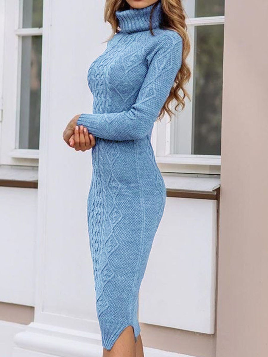Mid-Calf Long Sleeve Turtleneck Casual Sheath Dress