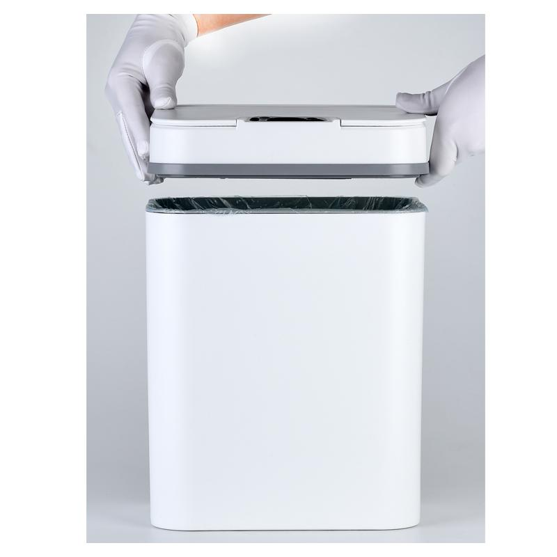 black and white intelligent sensor smart trash can-1.20