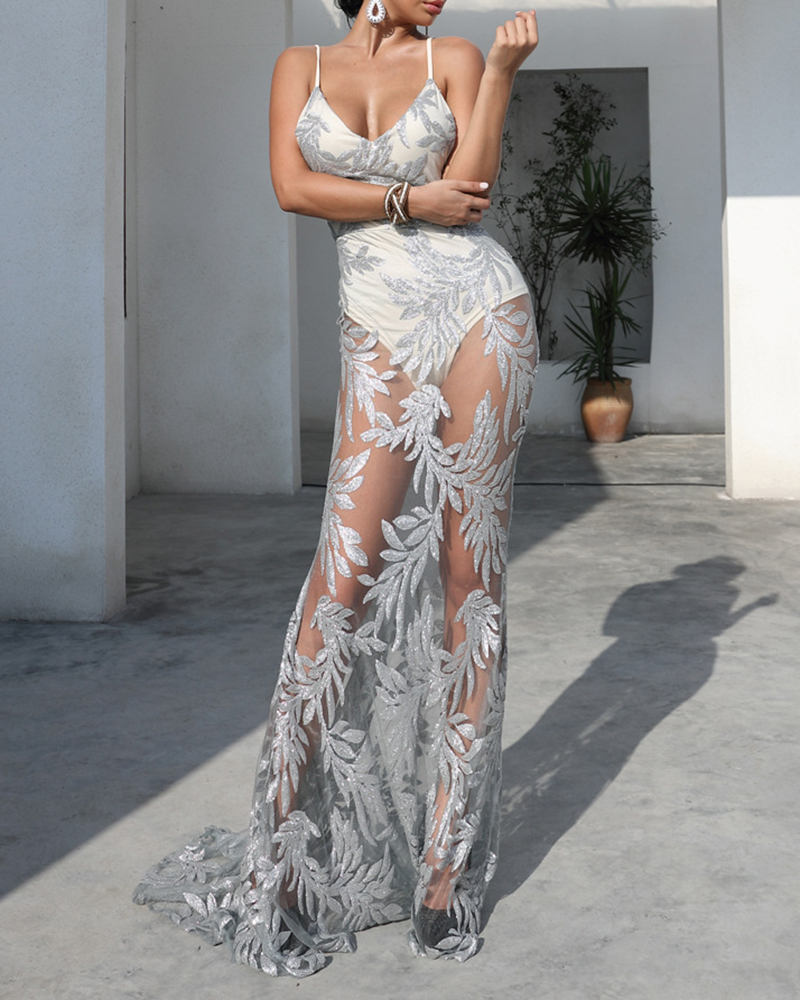 Off-The-Shoulder Sequined Perspective Evening Dress