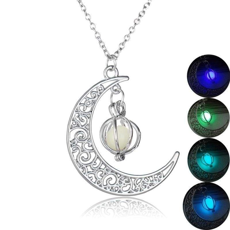 Moon Glowing Necklace Turquoise Charm Jewelry Silver Plated Pendant Necklace Halloween Gift Luminous Necklace WN007050000#2
