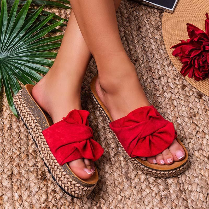 Women Casual Daily Comfy Bowknot Slip On Slippers
