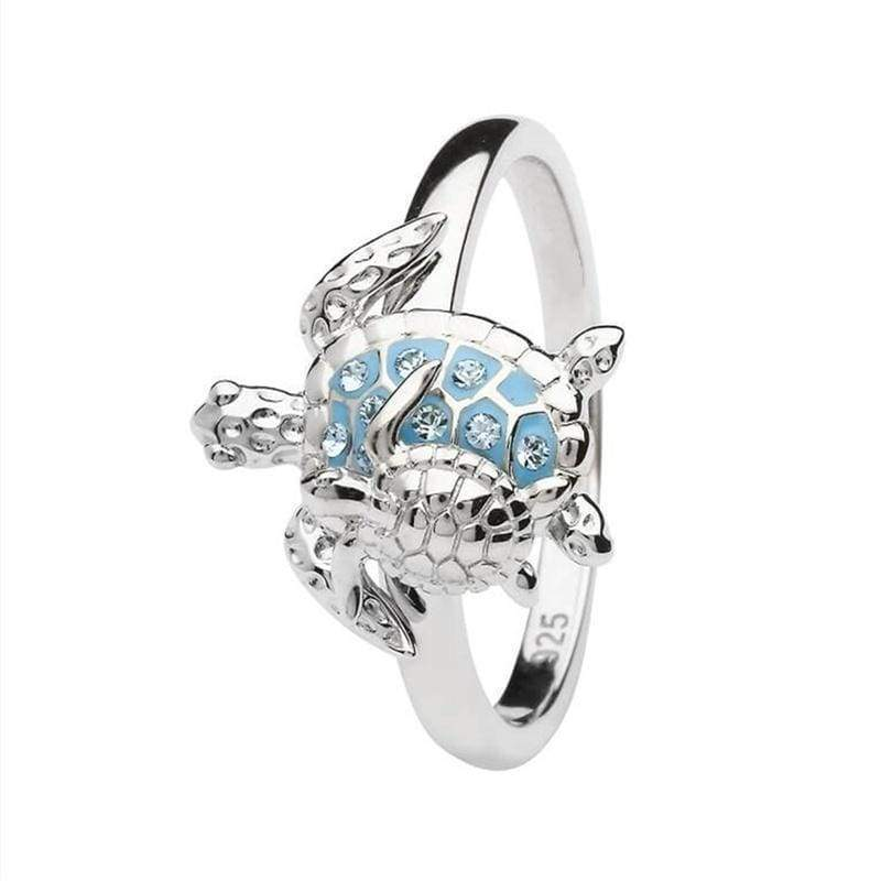 Creative 925 Sterling Silver Ring Mother & Baby Turtle Rings For Women Mother's Day Thanksgiving Anniversary Party Banquet Zircon Ring Size 6 7 8 9 10 11 12