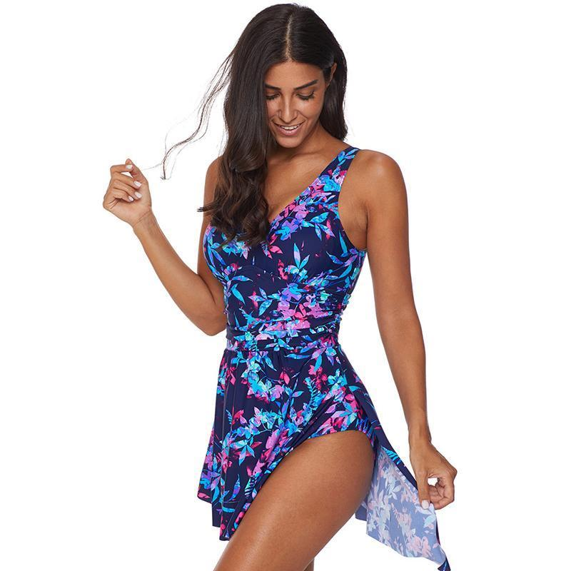Slim Flowers Printed One Piece Swim Dress For Women