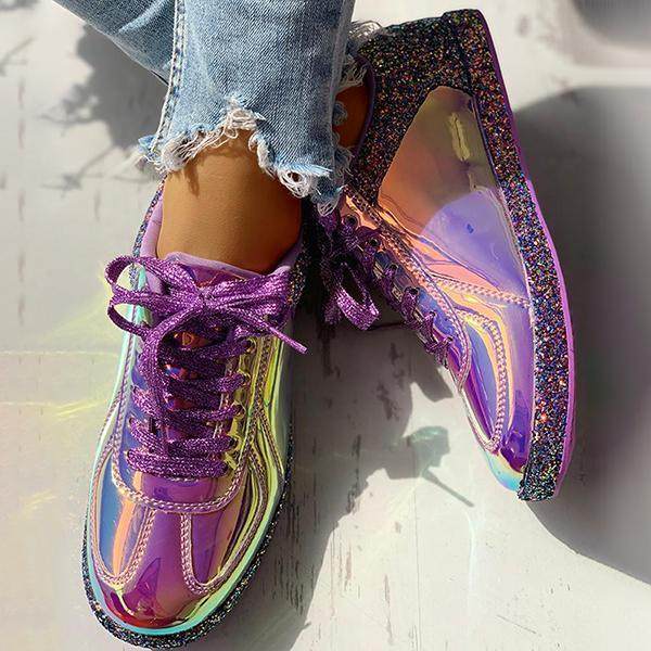 Mokoshoes Fashion Glitter Colorblock Lace-up Sneakers
