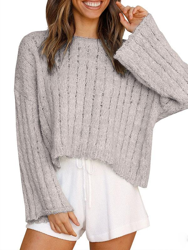 Bonnieshoes Casual Comfy Bell Sleeve Relaxed Fit Ribbed Collar Knitting Sweater