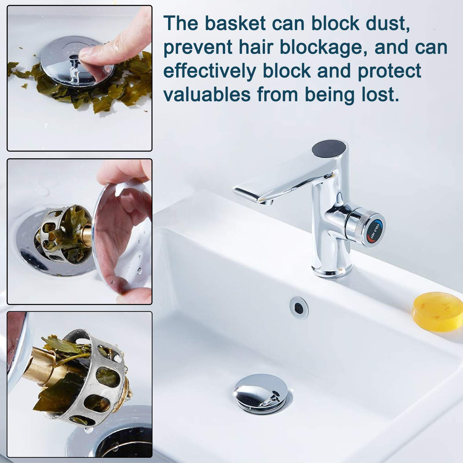 Stainless steel pop-up sink drain filter