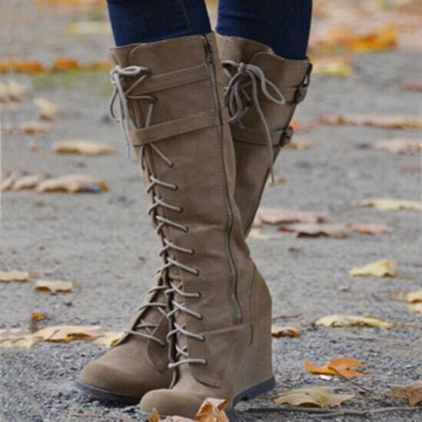 Faddishshoes Casual Lace-Up Wedge Knee High Boots