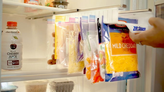 Organize Your Refrigerator - Full-Size Easy Store Organizer - Organizes 20 Bags, Perfect For Leftovers, Easy To See + Access Food, Quick Access Slide Track, Installs In 2 Minutes