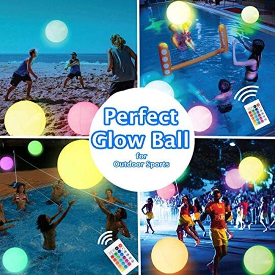 16 Colors Inflatable LED Glowing Beach Ball