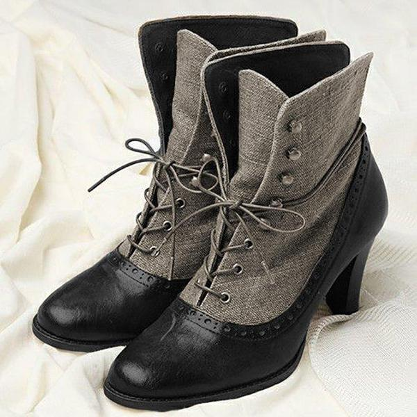Bonnieshoes Fashion Round Toe Stiletto Heel Boots