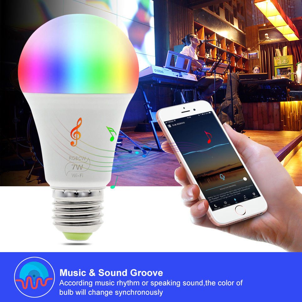 Smart 7W WiFi full color led bulb RGB Warm white Cool white E27 B22 E26 Magic home lighting Android 500lm AC100-240V 50/60Hz SMD2835 SMD5050 ceiling light alexa google Tmall