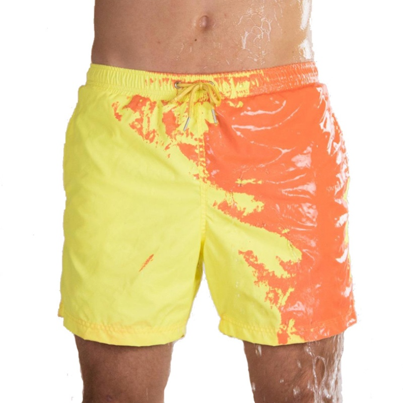 Magical Change Color Beach Shorts Summer Men Large Size Swimming Trunks Swimsuit Quick Dry Bathing Shorts Beach Pant