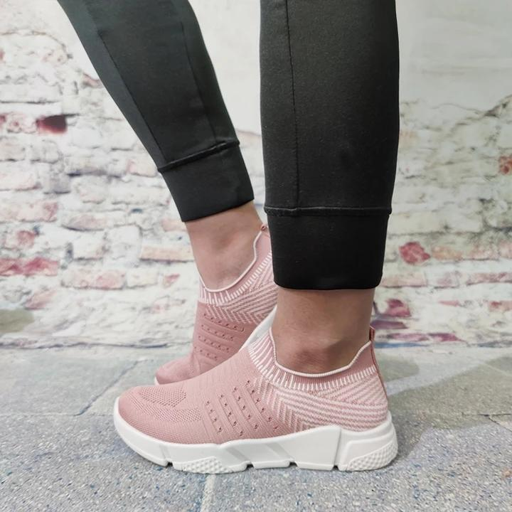 Twinklemoda Women Flyknit Fabric Hit Color Slip On Platform Sneakers