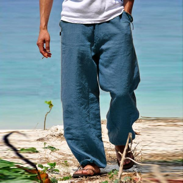 Men Natural Linen Casual Pants