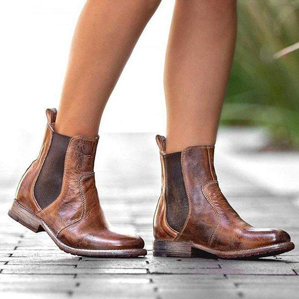 Upawear Vintage Low Heel Pull-on Ankle Boots