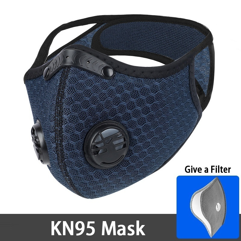 Professional KN95 Mask With Valve + KN95 Carbon Cloth 5 layers to Protect the Fashion Decorative PM 2.5 Protective Mask