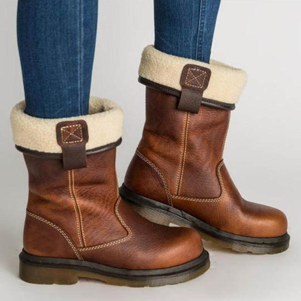 Bonnieshoes Plain Flat Round Toe Date Outdoor Mid Calf Flat Boots