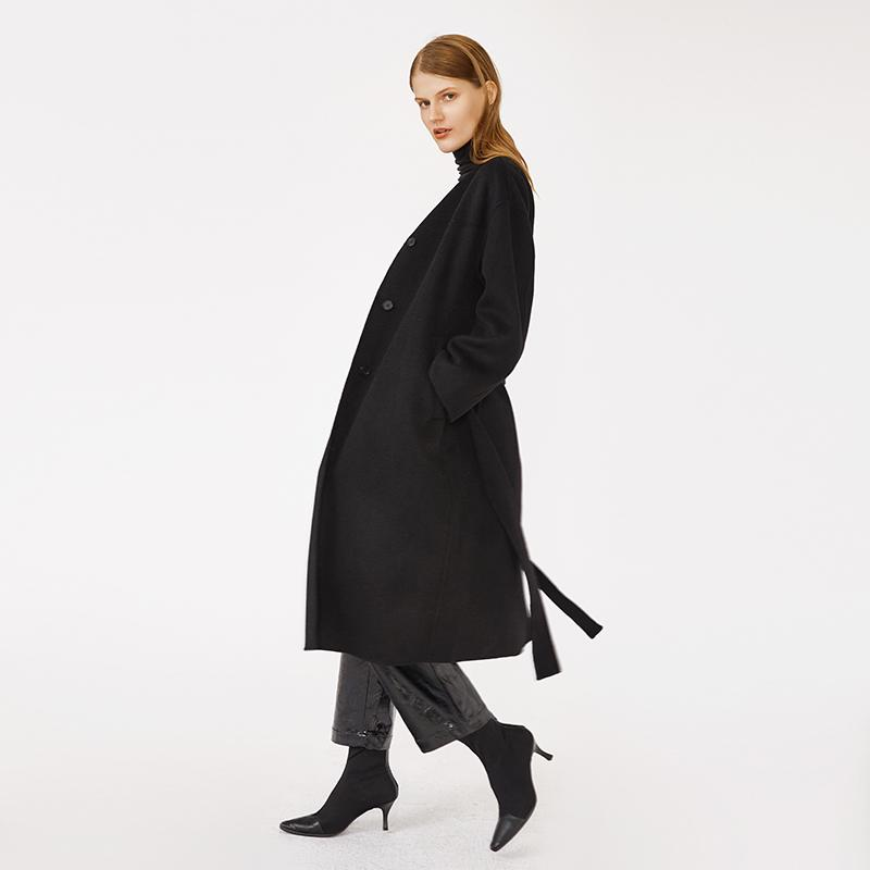 ATTITUDE collarless single breasted with belt woman long woolen black coat guangzhou woman apparel-Casual Outwear 2.11