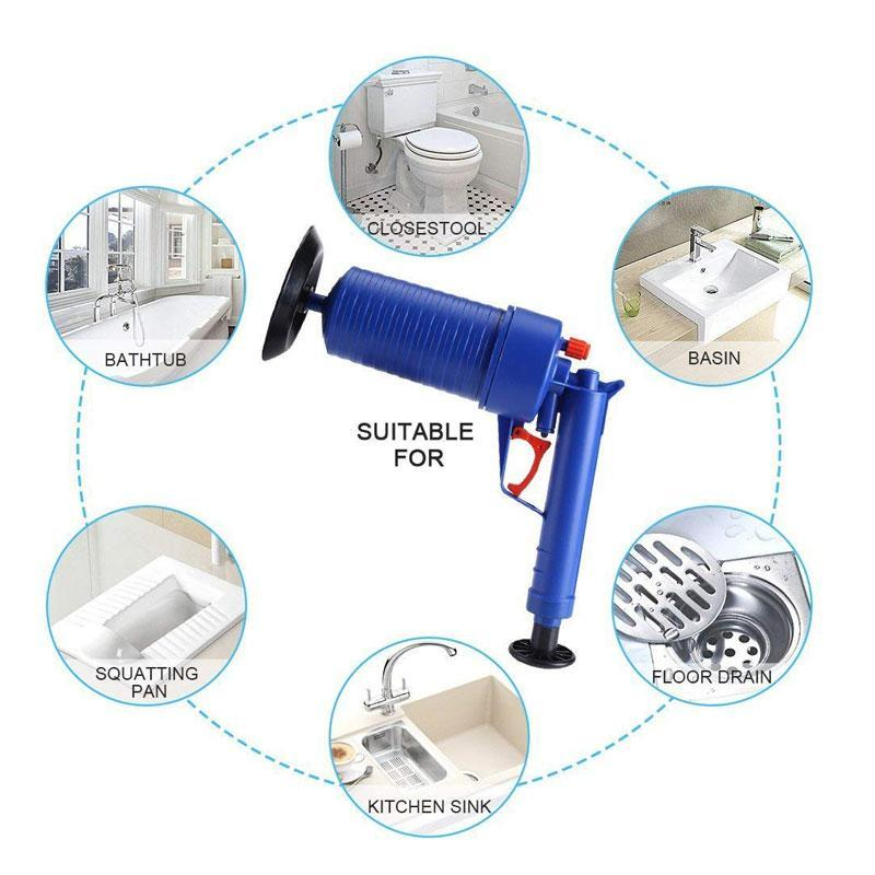 Air Powered High Pressured Drain Plunger Pump for Sink Bath Toilets
