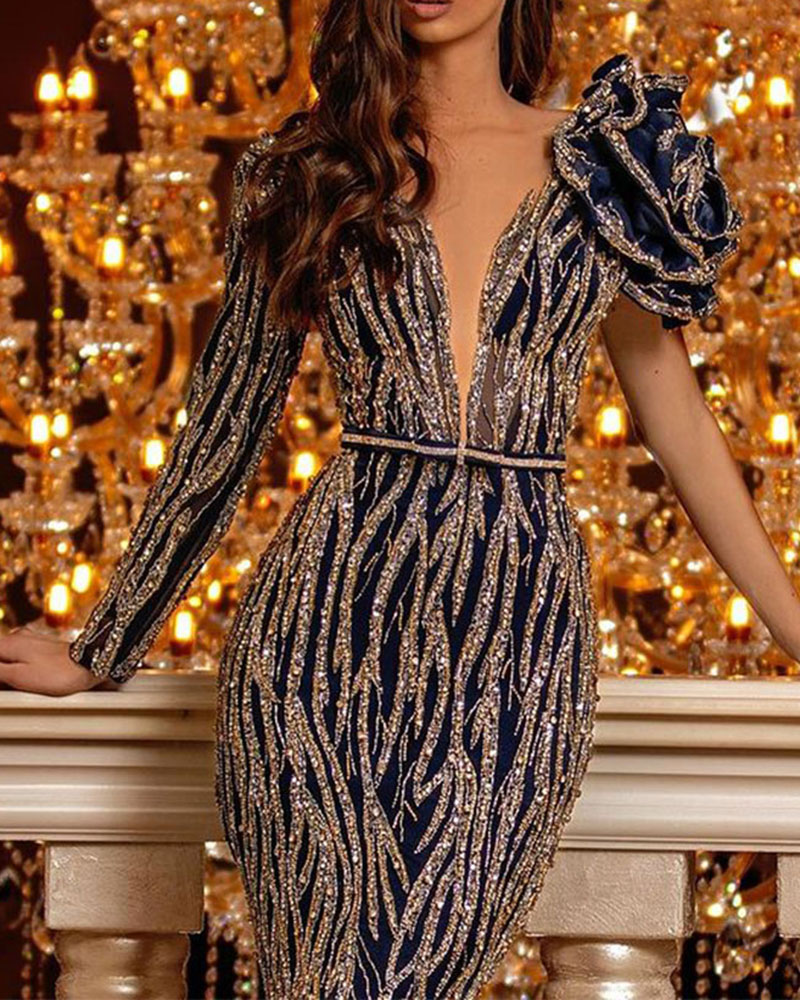 Fashionable V-neck Sequin Bodycon Evening Dress
