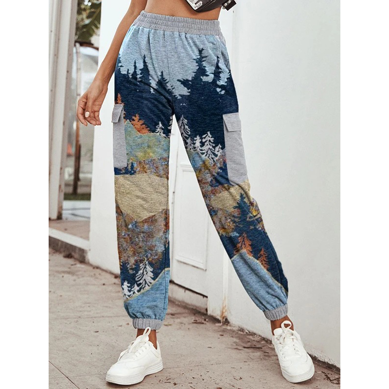 Fashion casual loose landscape print pants
