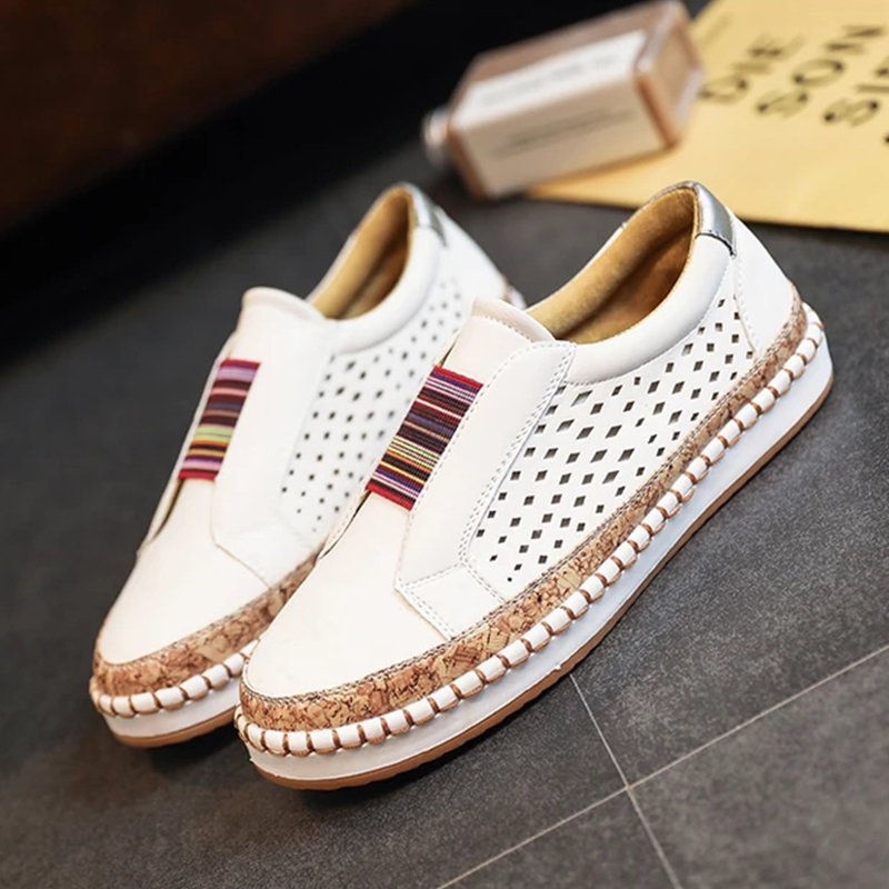 Large Size Women Breathable Hollow Splicing Flat Loafers