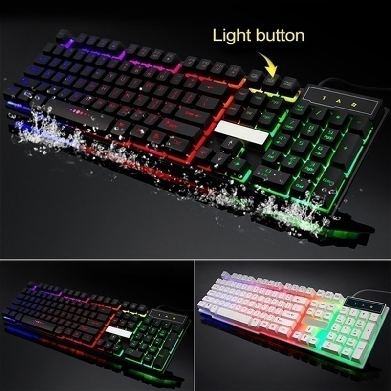 3 Options 1*Keyboard or 1*Mouse or 1 Suit(1*Keyboard&1*Mouse)  USB Keyboard USB Mouse Glow Game Suite Black/White