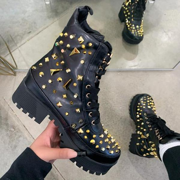 Mokoshoes Studded Detail Black Combat Boots