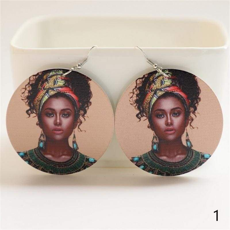 1 Pair Black Women African Earrings Round Painted Wooden Dangle Earrings for Women Fashion Jewelry