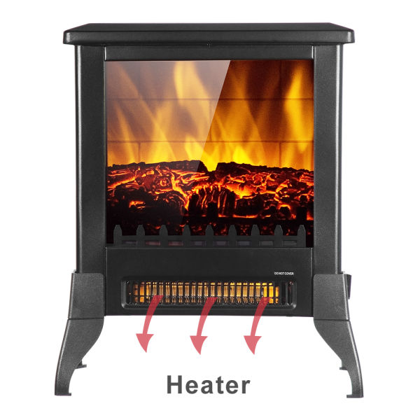 Buyonhome 14 inch 1400w Electric Fireplace Stove, Portable Freestanding Fireplace, Realistic Flame and Logs Vintage Design for Home and Office