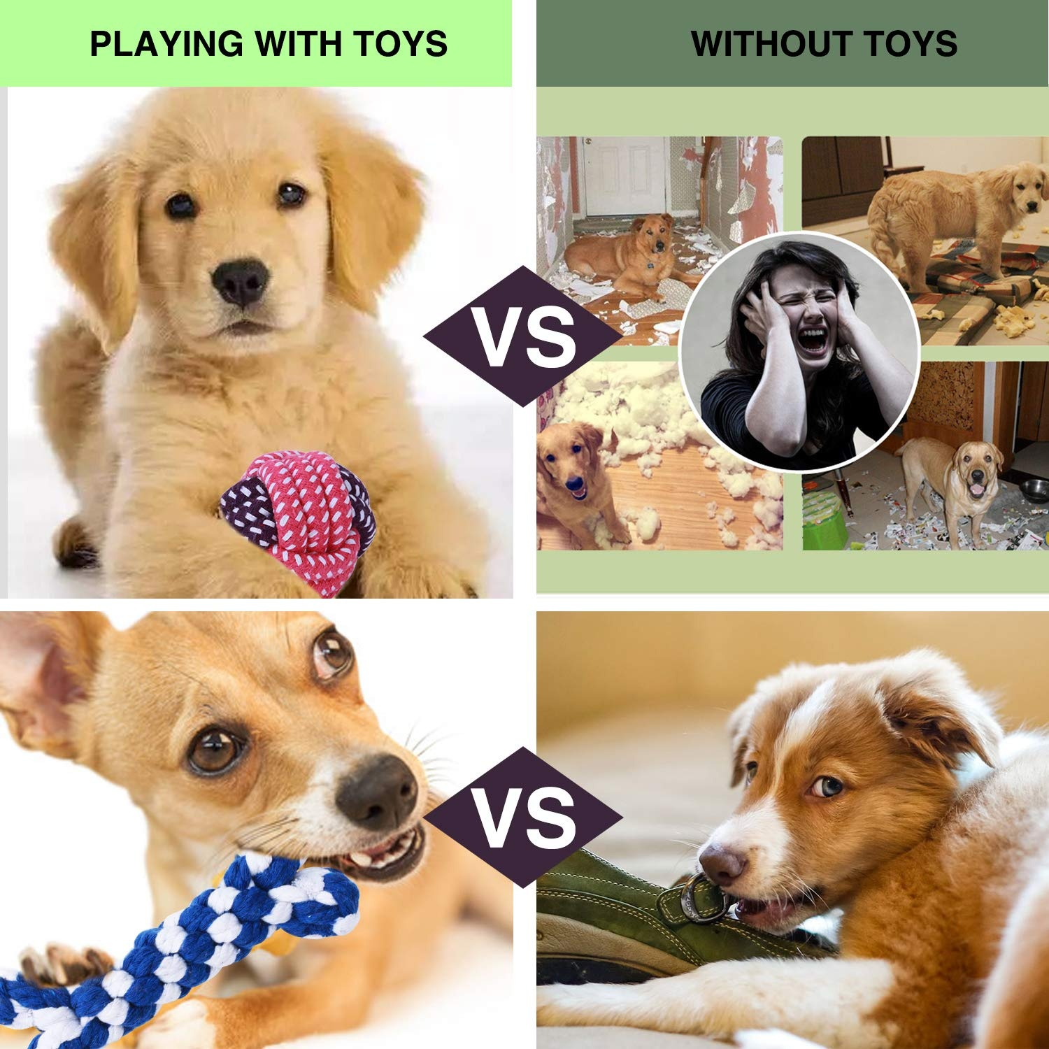 5/6/8/10/12 PCS Dog Toys Pet Puppy Chew Toys Set with Ball Ropes and Squeaky Toys for Medium to Small Dog Training Toy