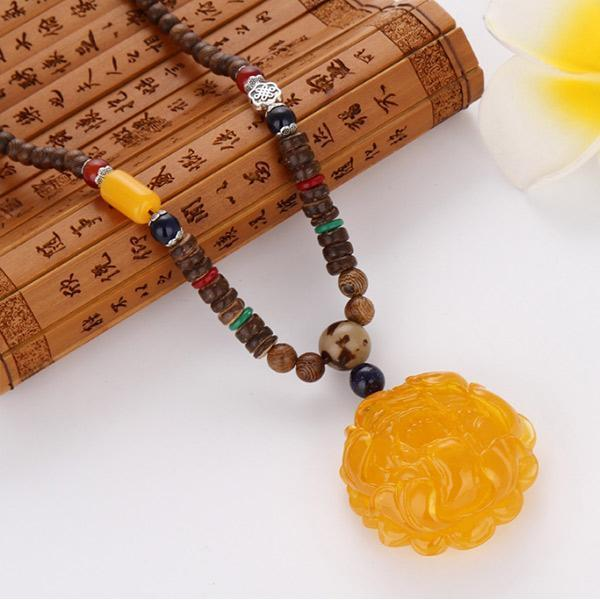 Unisex Retro Chicken Wing Wooden Bead Pendant Imitation Beeswax Necklace