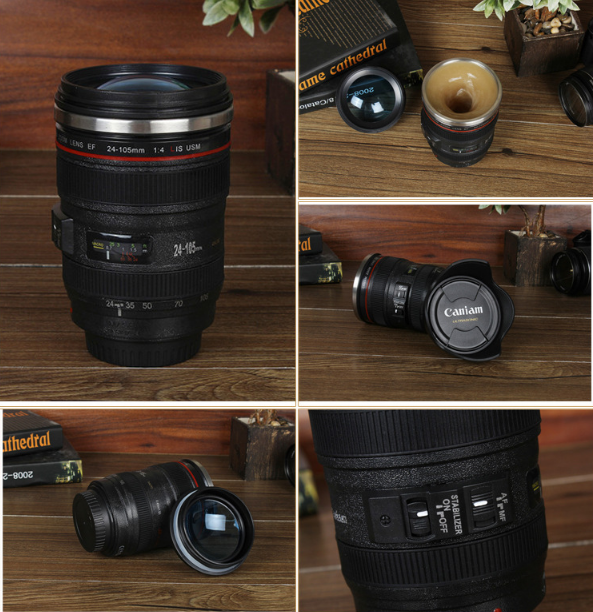Camera lens automatically stirred the coffee cup
