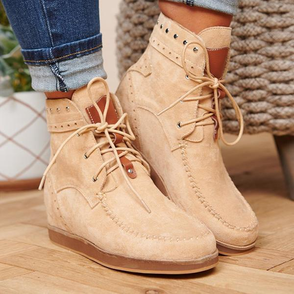 Mokoshoes Faux Suede Lace Up Booties