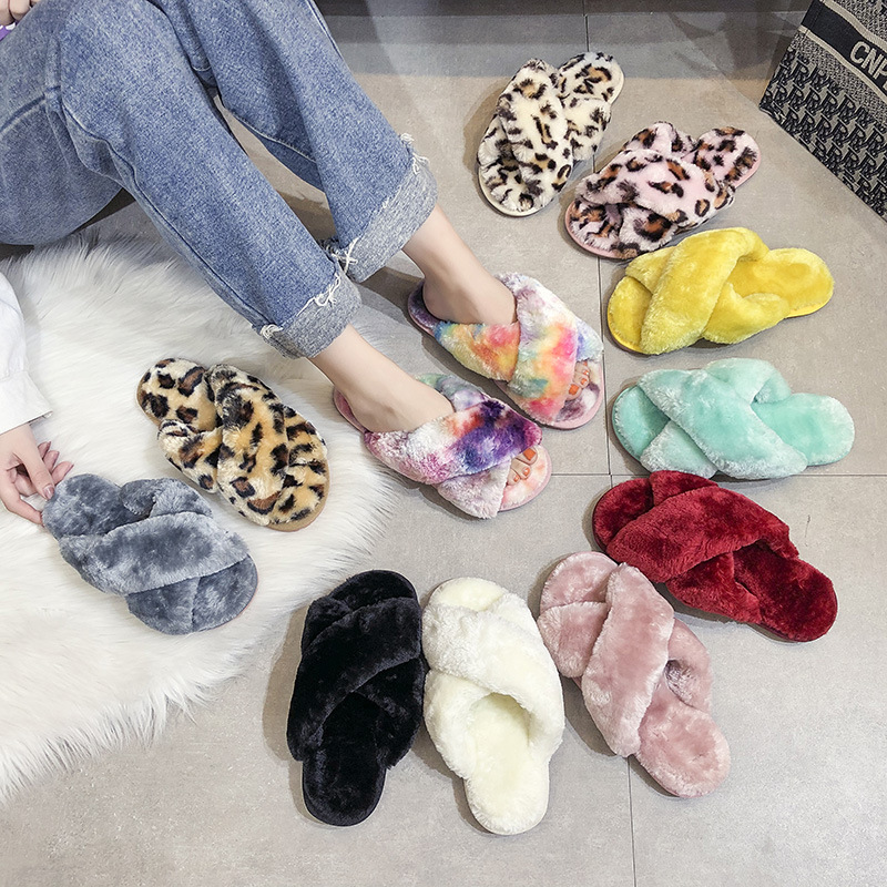 Cross Band Slippers | Women's Furry Fur Slippers | Soft Plush Furry Cozy Open Toe House Shoes