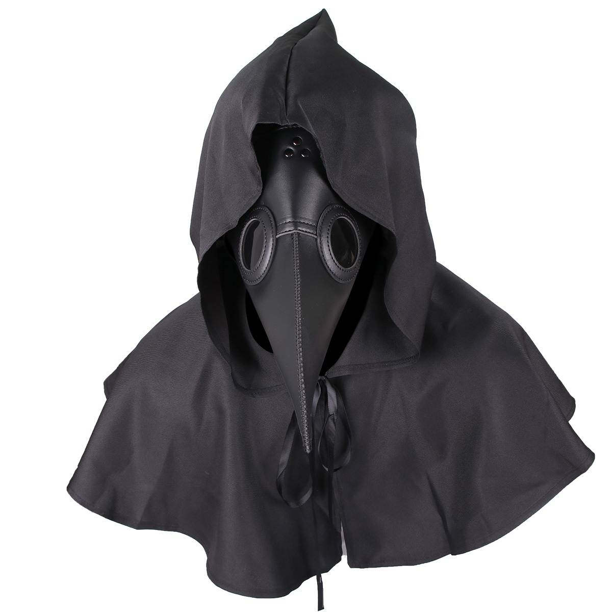 Plague Doctor Bird Leather Mask + Cloak Long Nose Beak Cosplay Halloween Costume Steampunk Props for Adults