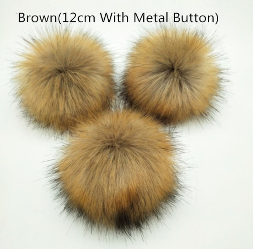 10/12CM DIY Women Faux Raccoon Fur Pom Poms Ball for Knitting Beanie Hat Accessories